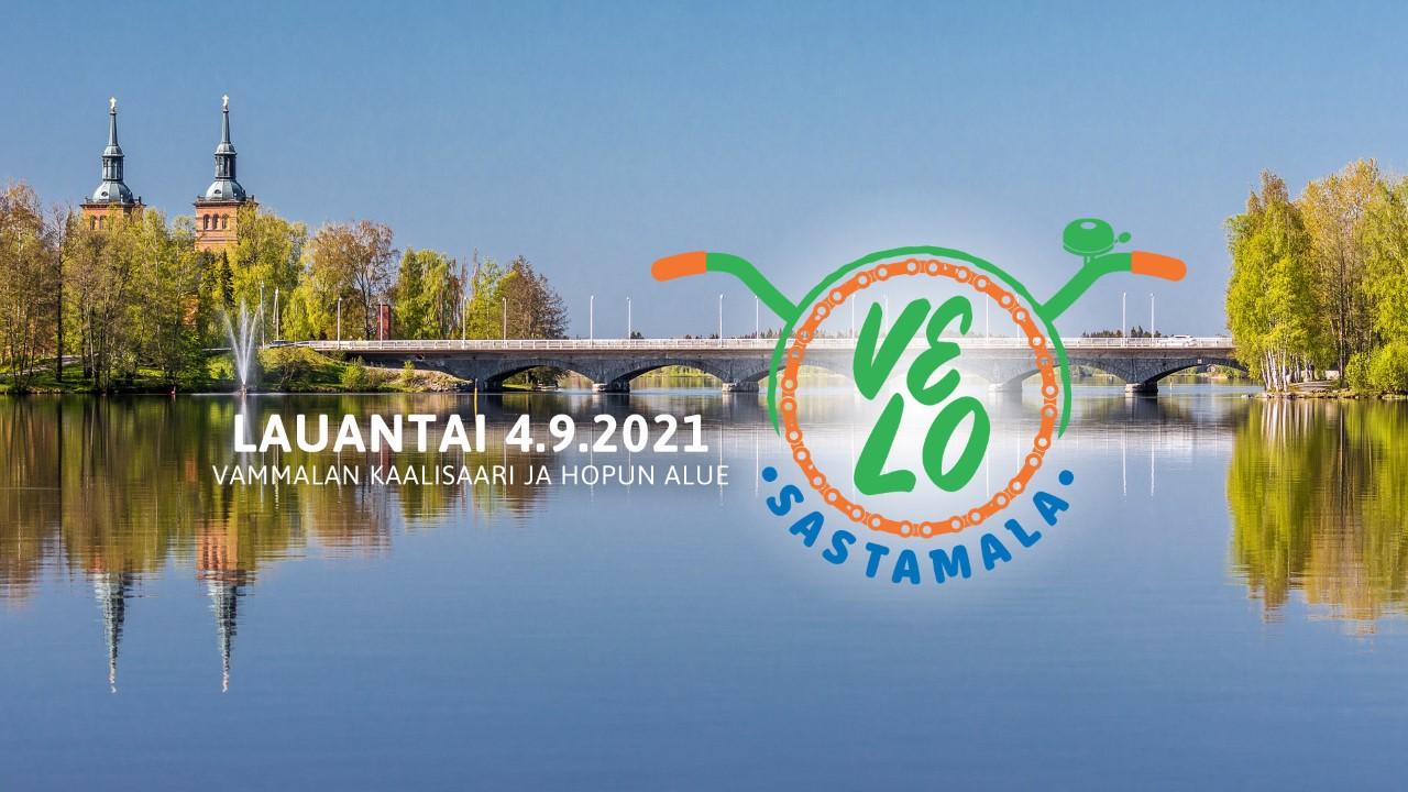 Kuvassa näkyy Rautavesi, Vammas-kosken silta, Tyrvään kirkko. sekä Velo Sastamala -tapahtuman logo. Tapahtuma ajankohta on la 4.9.2021.